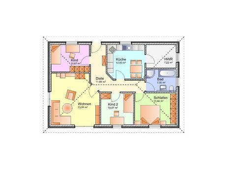 Grundriss Erdgeschoss Bungalow 01