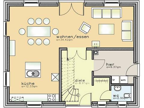 Grundriss Erdgeschoss Einfamiliemhaus 01