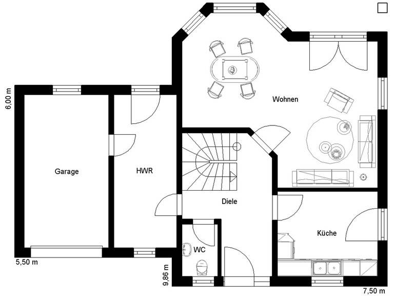 Harzhaus 100 Grundriss Erdgeschoss inkl. Garage