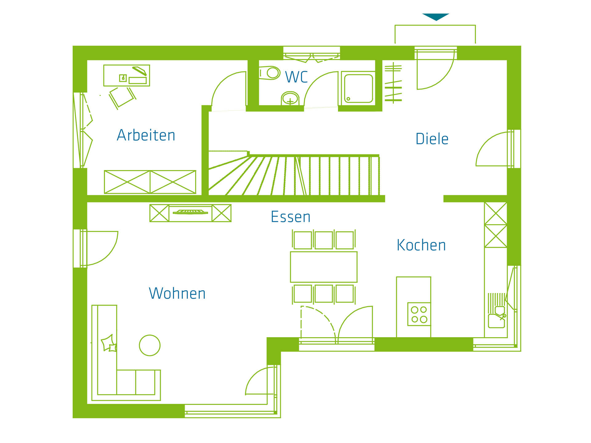 KitzlingerHaus Einfamilienhaus Komfort Grundriss EG
