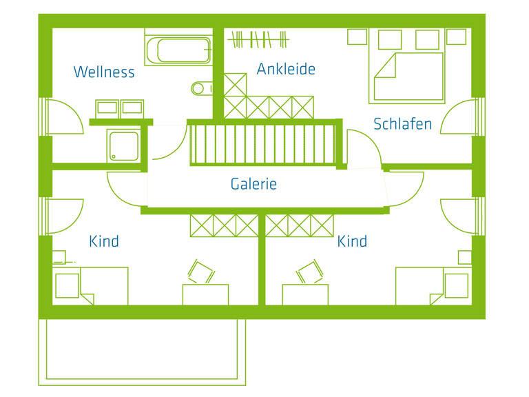 KitzlingerHaus Einfamilienhaus Komfort Grundriss OG
