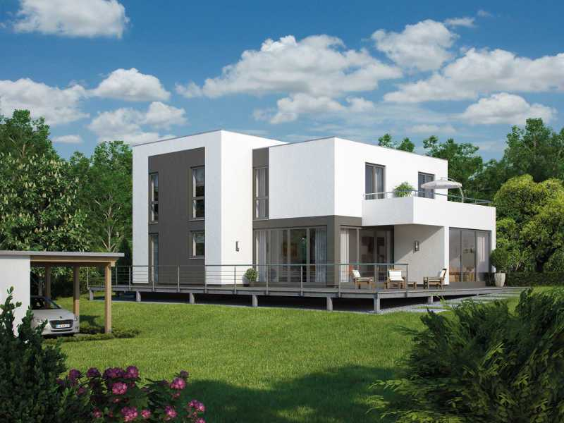 Architektenhaus comfortline bauhaus iqhausbau for Architektenhaus flachdach
