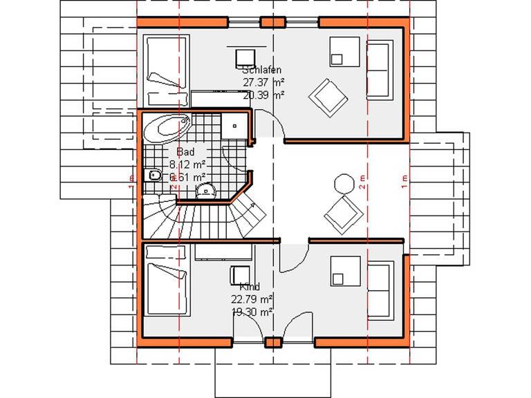 Grundriss Dachgeschoss Variante 1 Haus Maiberg
