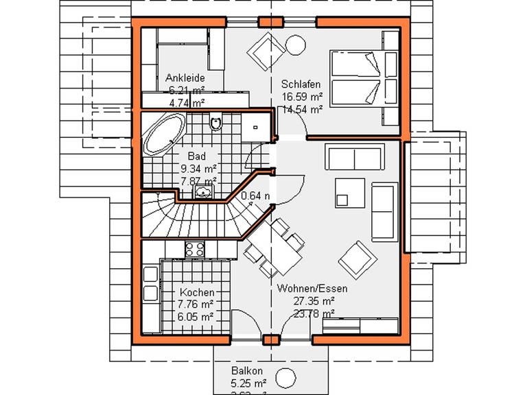 Grundriss Dachgeschoss Variante 2 Haus Maiberg