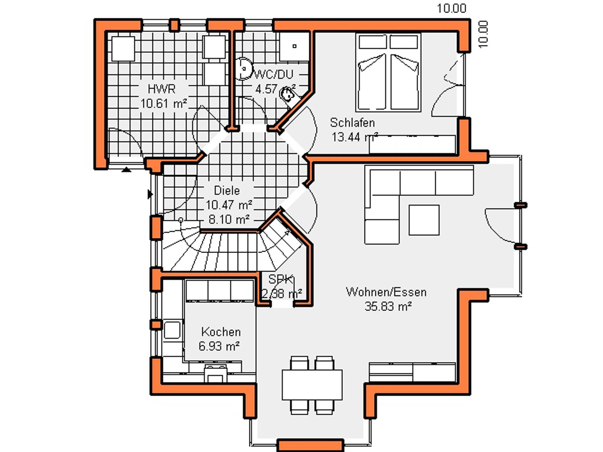 Grundriss Erdgeschoss Haus Maiberg