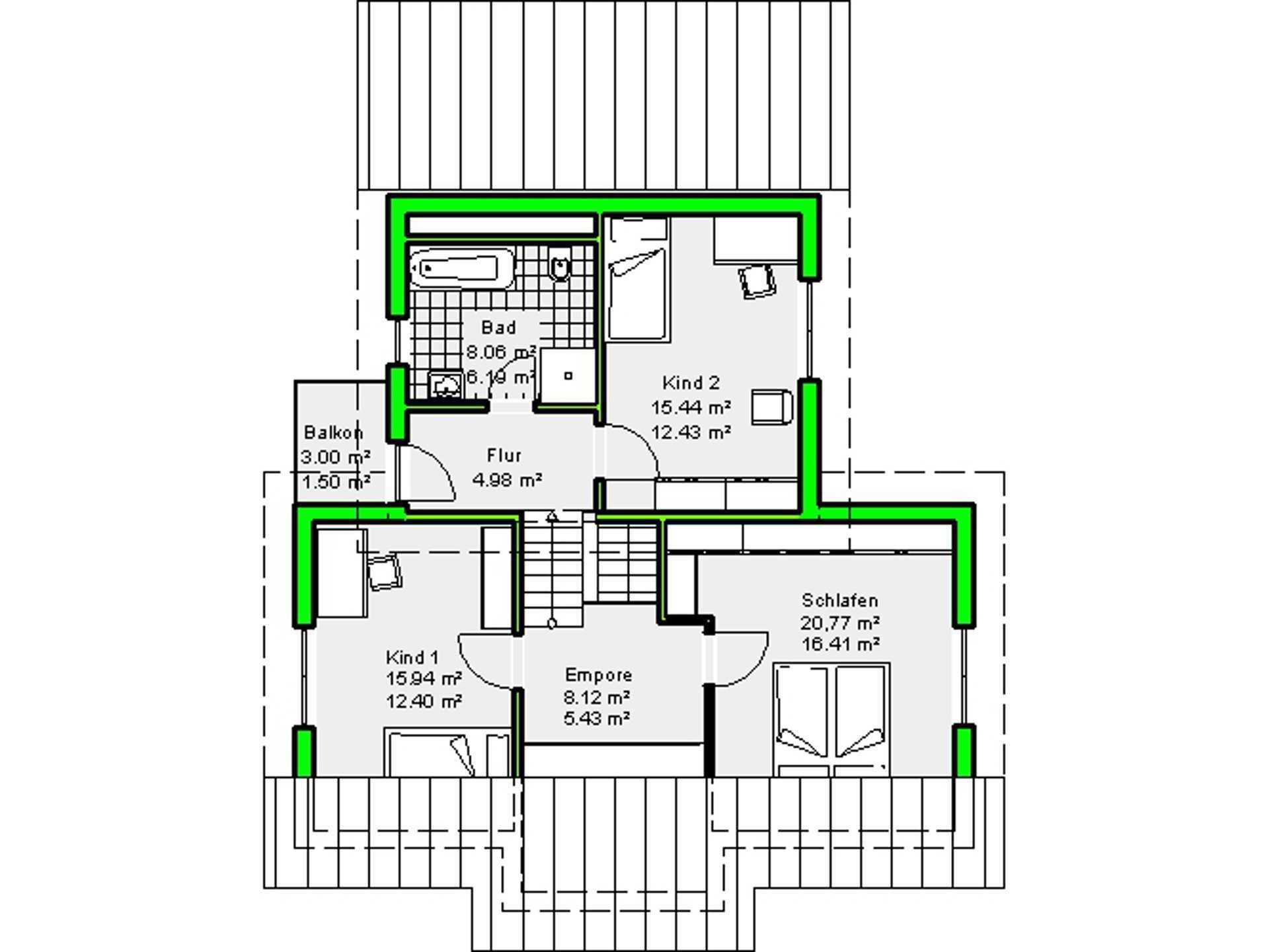 Grundriss Obergeschoss Haus Marburg