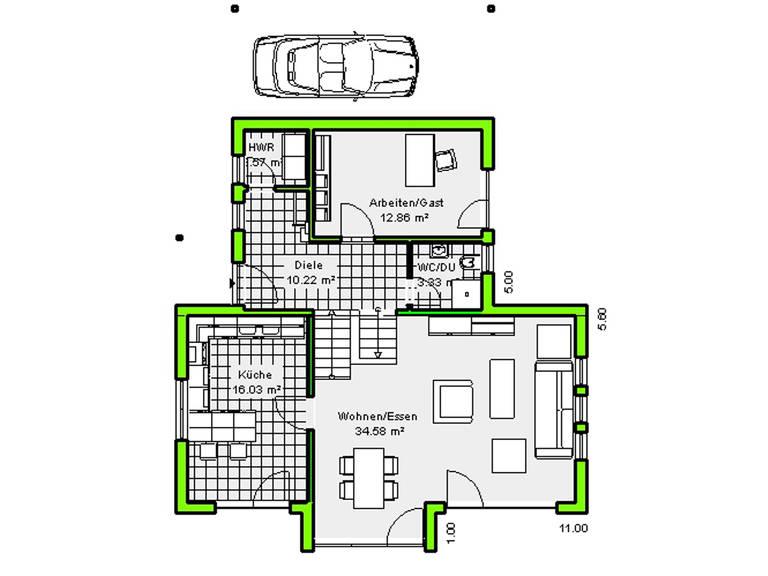 Grundriss Erdgeschoss Haus Marburg