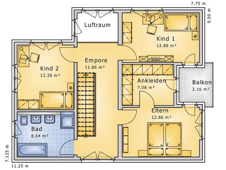 Grundriss Obergeschoss Stadthaus Impression