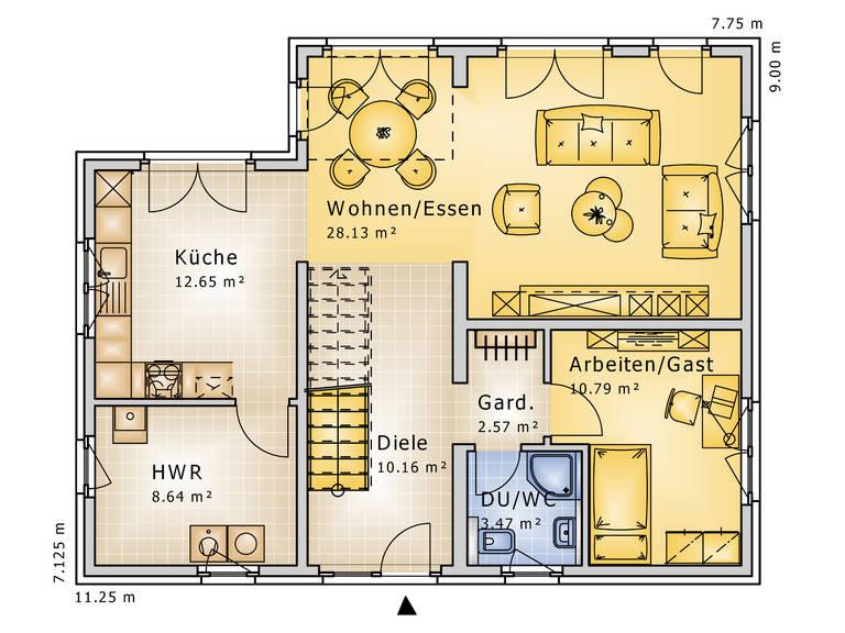 Grundriss Erdgeschoss Stadthaus Impression