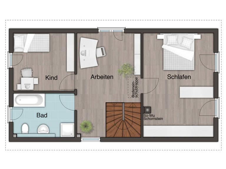 Grundriss Erdgeschoss Stadthaus Aura 125