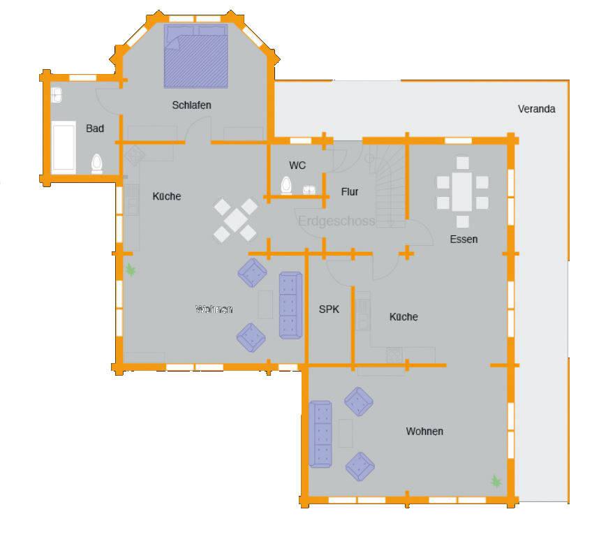 Grundriss Erdgeschoss Blockhaus Bremer