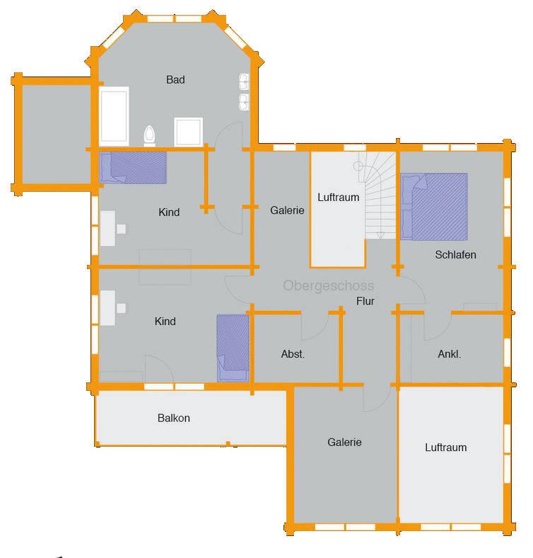 Grundriss Obergeschoss Blockhaus Bremer