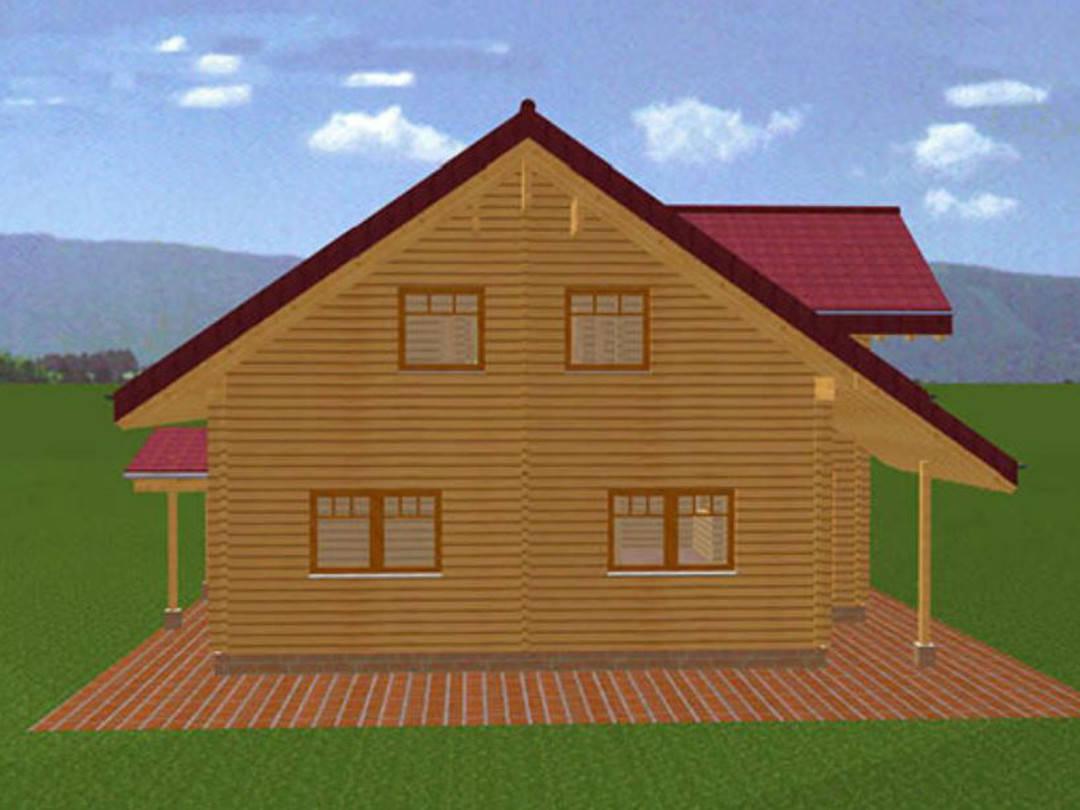 Animation der Außenansicht Blockhaus Busselmann
