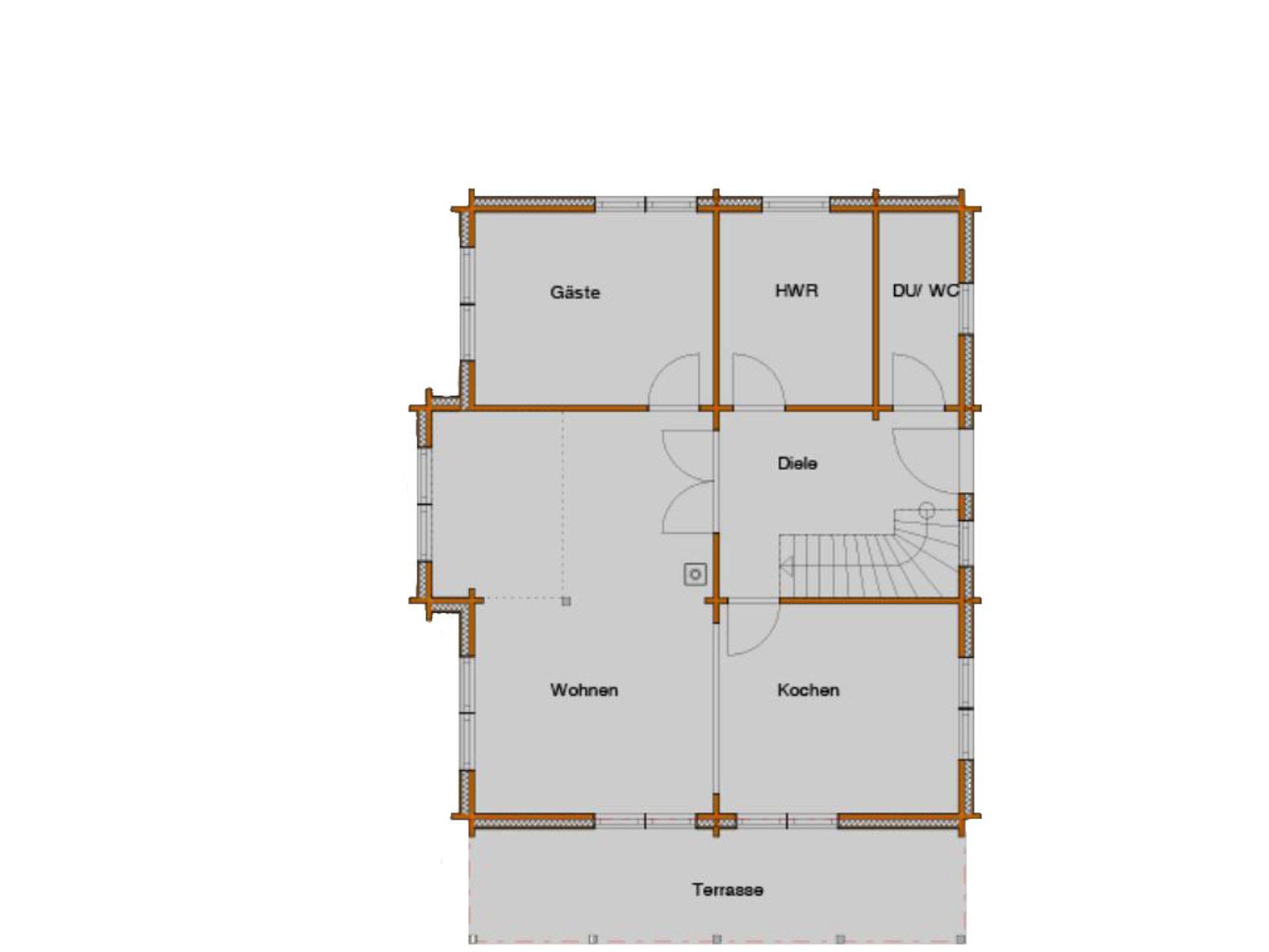 Grundriss Erdgeschoss Blockhaus Cialon
