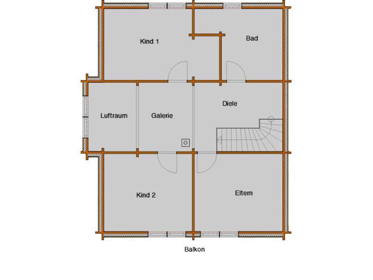 Grundriss Obergeschoss Blockhaus Cialon