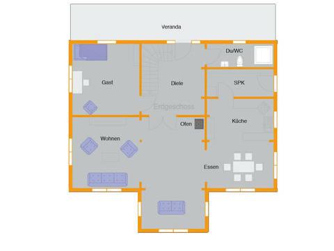 Grundriss Erdgeschoss Blockhaus Kühling