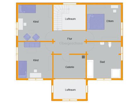 Grundriss Obergeschoss Blockhaus Kühling