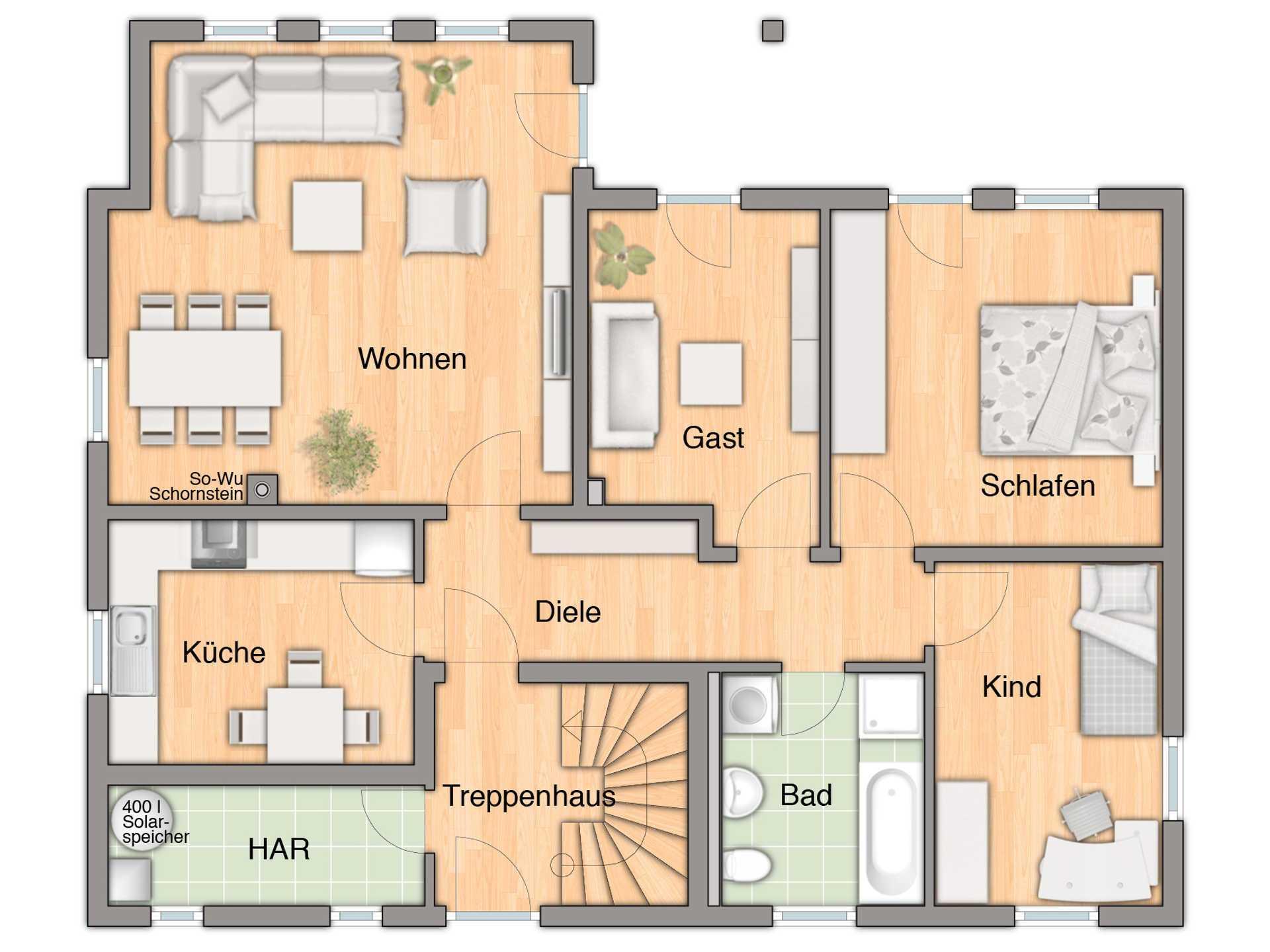 Haus domizil 192 mit einliegerwohnung town country haus for Haus mit einliegerwohnung grundriss