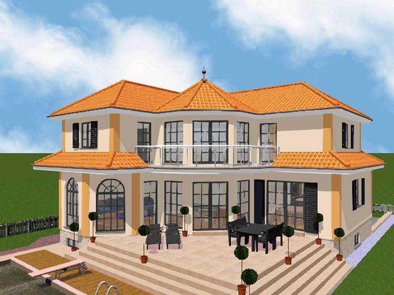 Aussenansicht auf die überdachte Terrasse und den Balkon.
