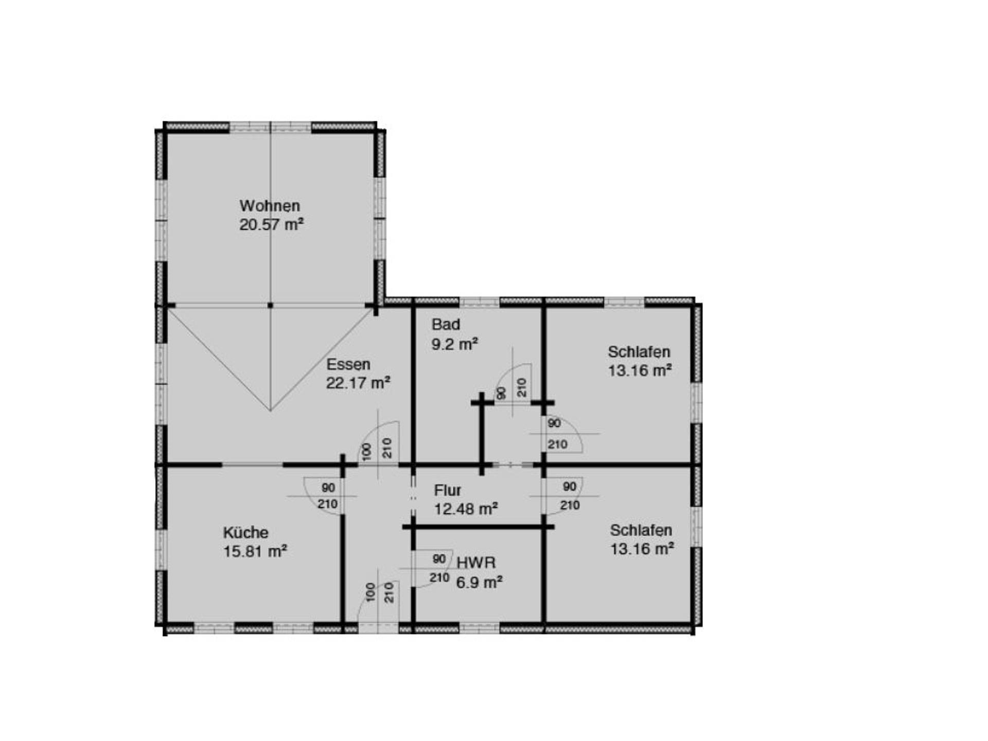 Grundriss Blockhaus Thauern