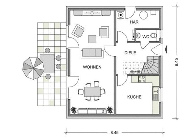 Grundriss Erdgeschoss Modicus M50.D