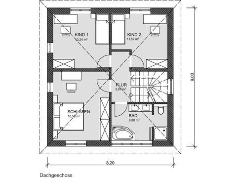 Grundriss DG Stadtvilla von Prodomus Bau GmbH