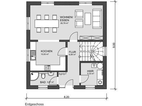 Grundriss EG Stadtvilla von Prodomus Bau GmbH