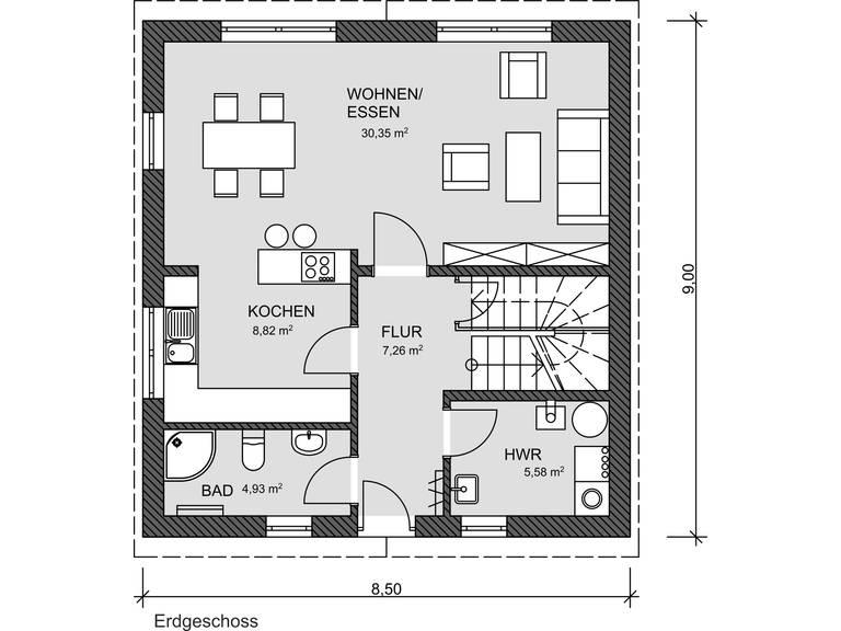 Grundriss EG EInfamilienhaus 100 von Promodus Bau GmbH