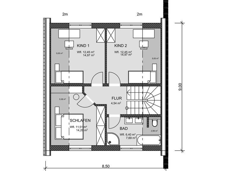 Grundriss DG EInfamilienhaus 100 von Promodus Bau GmbH