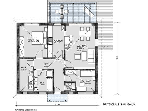 Grundriss Bungalow Promodus Bau GmbH