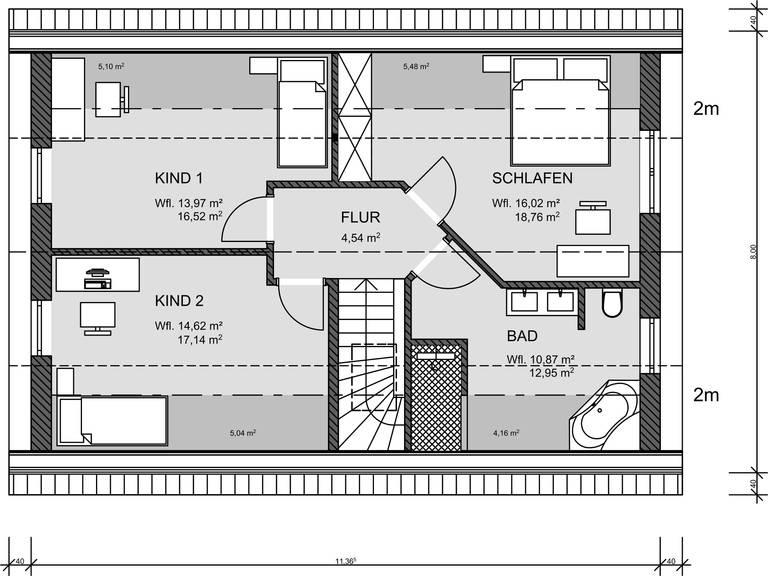 Grundriss DG Einfamilienhaus 130 von Prodomus Bau GmbH