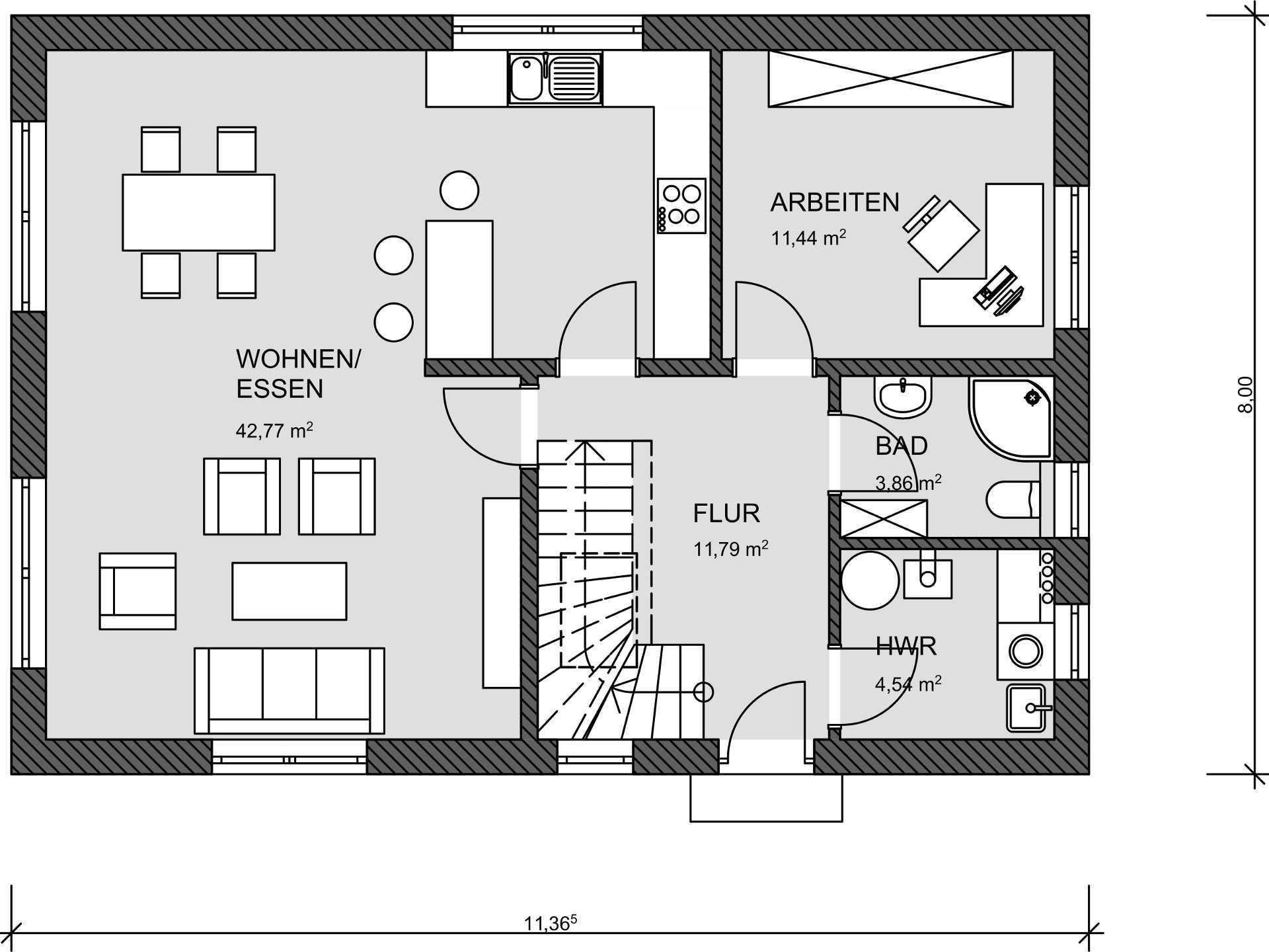 Grundriss EG Einfamilienhaus 130 von Prodomus Bau GmbH