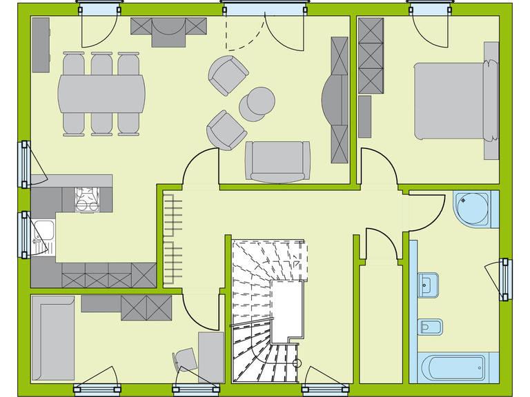 Grundriss OG Haus Stadt-Special 2 von massa hausGmbH