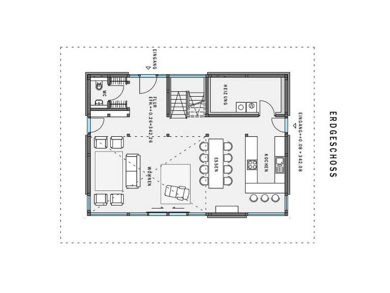 Grundriss EG HUF Haus modum: 7:10 mit Flachdach