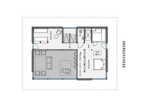 Grundriss OG HUF Haus modum: 7:10 mit Flachdach