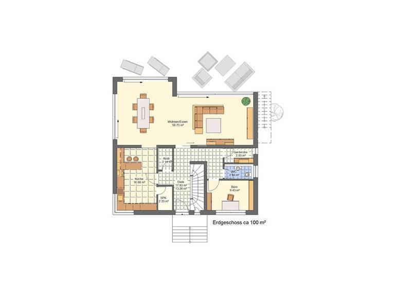 Grundriss EG Haus Lifestyle Trend von Zenz-Massivhaus