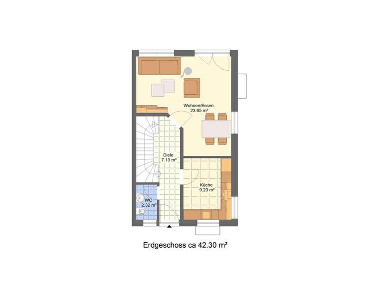 Grundriss EG Doppelhaushälfte DH2