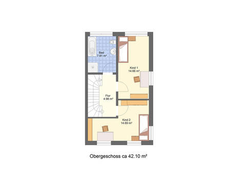 Grundriss OG Doppelhaushälfte DH2