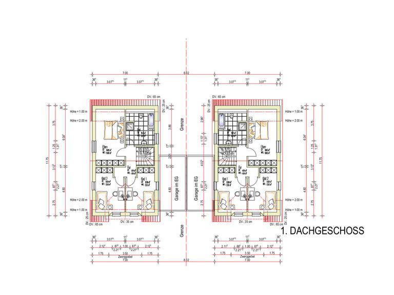 Grundriss DG 1 Haustyp Freiburg