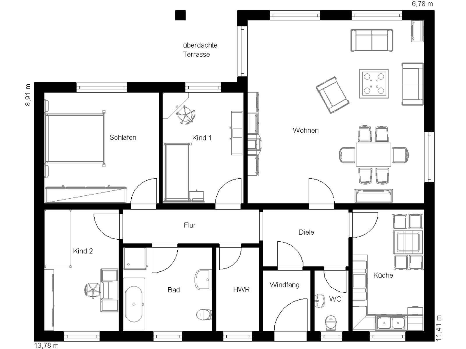 Walmdach bungalow 120 domoplan massivhaus for Bungalow grundrisse