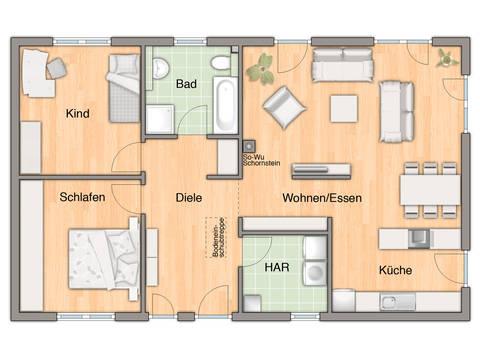 Grundriss Bungalow 100 von FIMA Hausbau