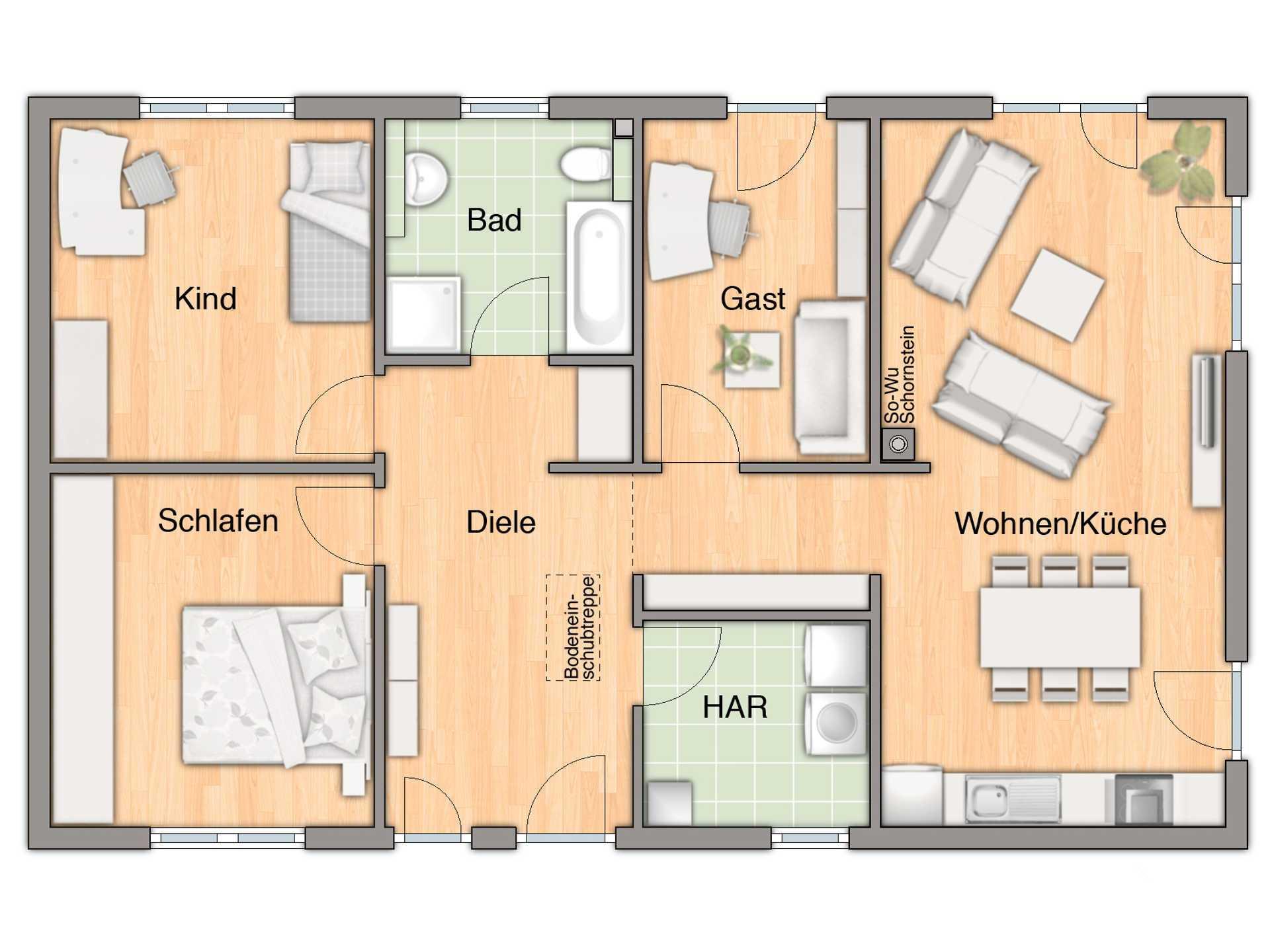Grundriss Bungalow 100 mit Gästezimmer von FIMA Hausbau