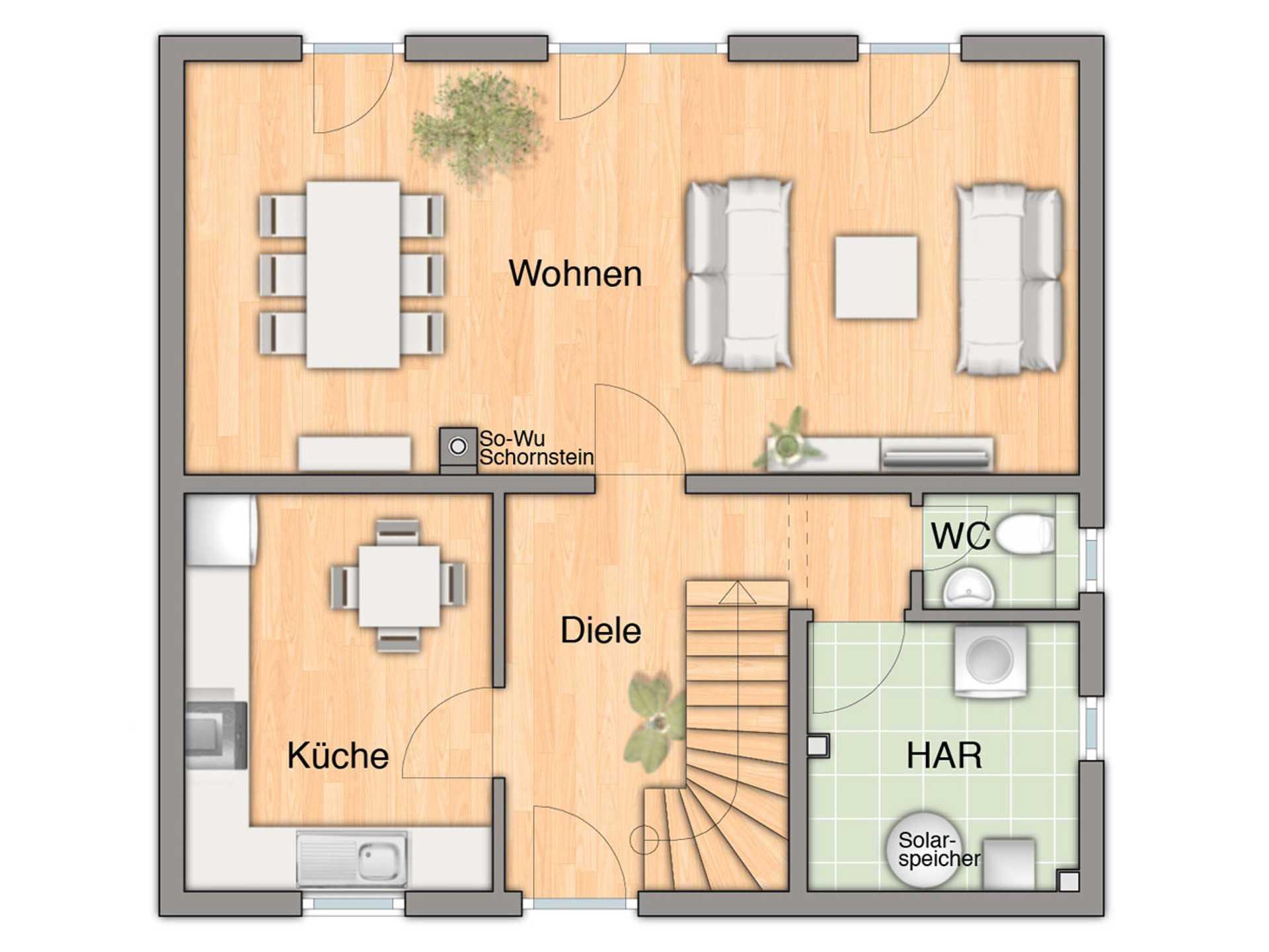 Grundriss Erdgeschoss Flair 113 von FIMA Hausbau