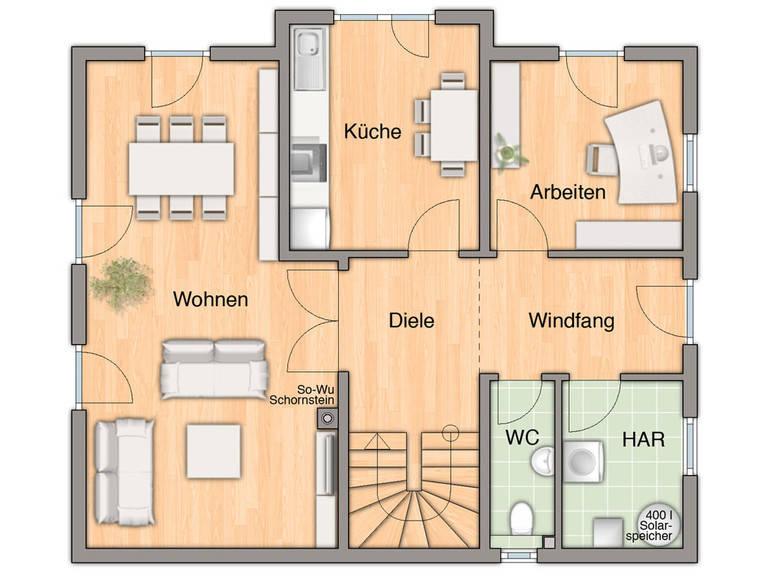 Grundriss Erdgeschoss Lichthaus 152 von FIMA Hausbau
