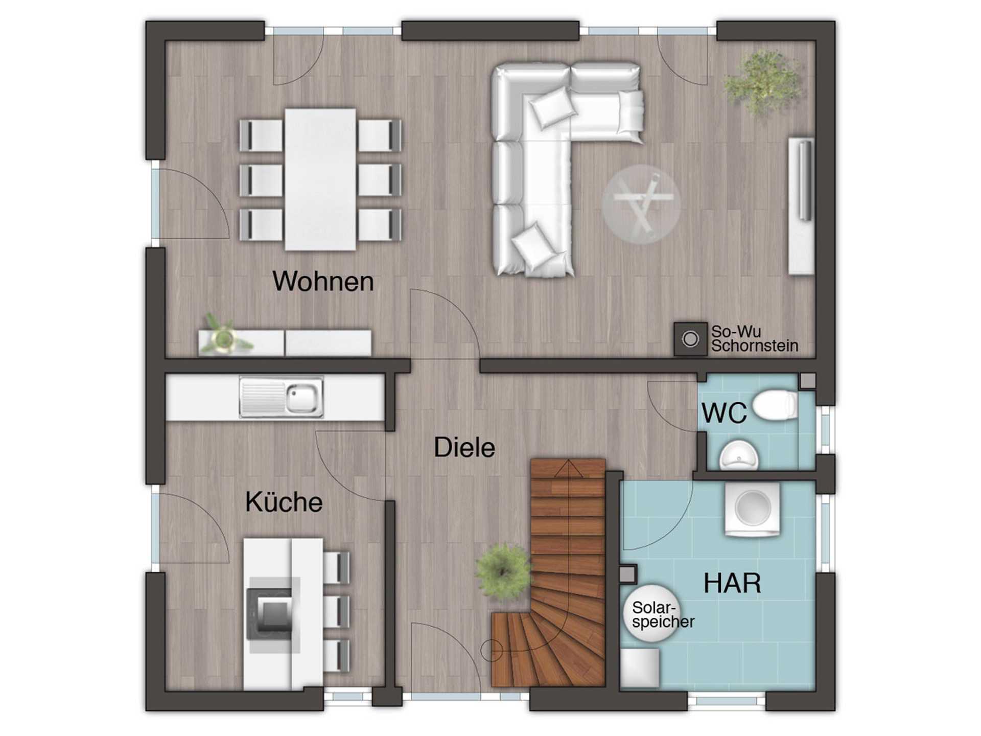 Grundriss Erdgeschoss Stadthaus Flair 124 von FIMA Hausbau