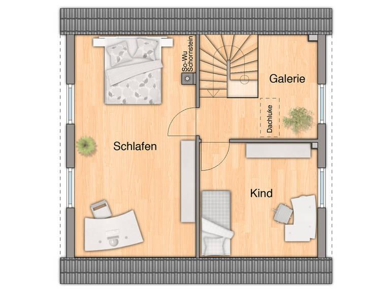 Grundriss Dachgeschoss Aspekt 90 von FIMA Hausbau