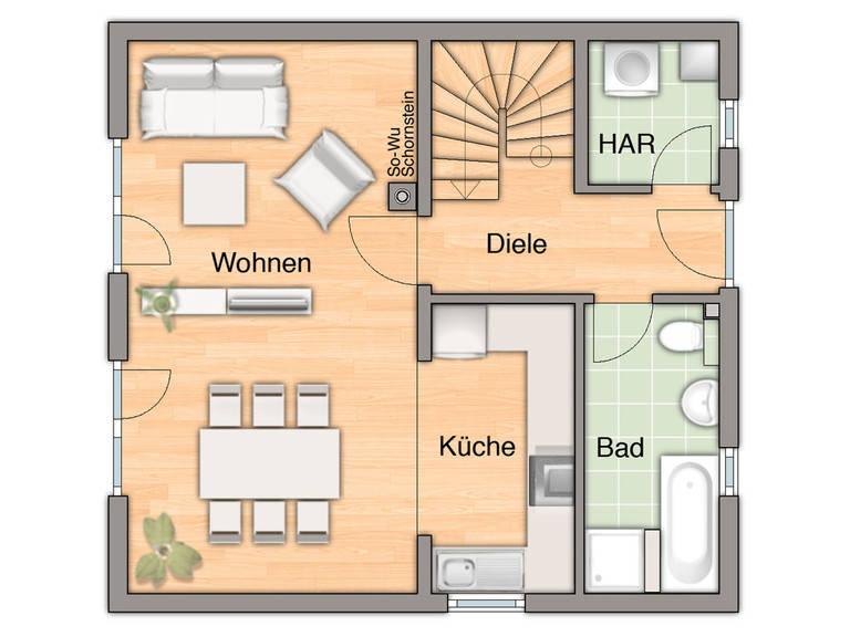 Grundriss Erdgeschoss Aspekt 90 von FIMA Hausbau