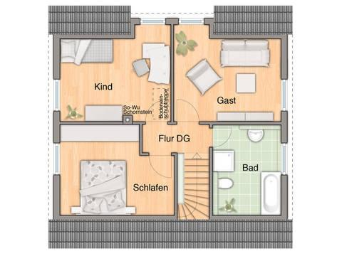 Grundriss Dachgeschoss Flair 113 von ZuHause Bau GmbH - Town & Country