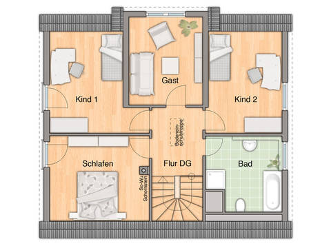 Grundriss Dachgeschoss Lichthaus 152 von ZuHaus Bau GmbH - Town & Country