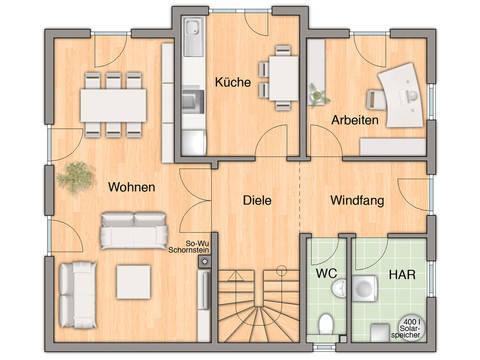 Grundriss Erdgeschoss Lichthaus 152 von ZuHaus Bau GmbH - Town & Country
